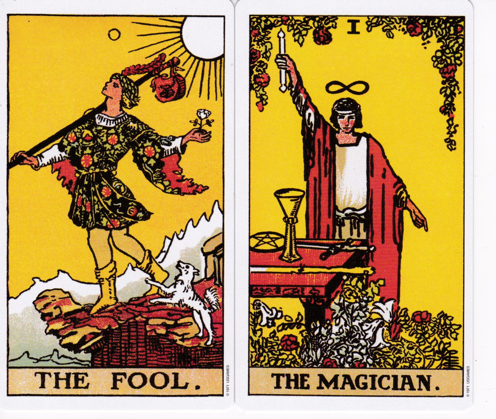 Magician & Fool Tarot cards
